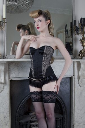 Temptation corset, with lace and vintage stitch, £75