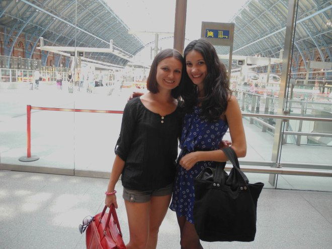 Mira and I after brunch, on St. Pancras railway. Beautiful place, sweet people.