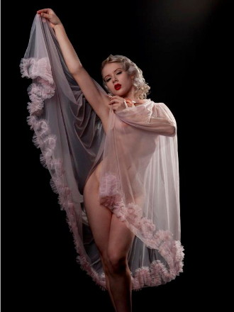 The lovely Mosh wears Dottie's Delight Frou Frou Robe